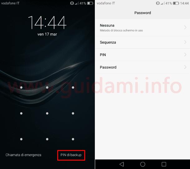 Schermata blocco schermo Android PIN di backup