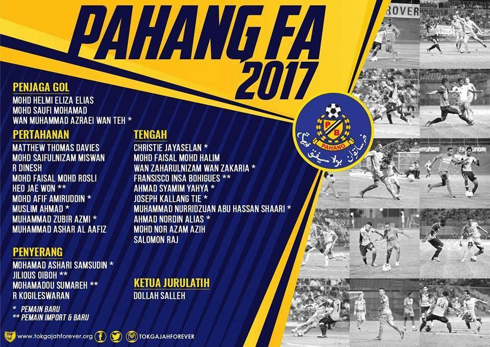 Pemain Pahang FA 2017 Tok Gajah