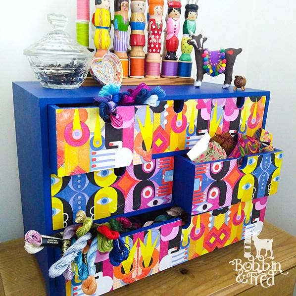 Colourful Picasso inspired upcycled desk top drawers for sewing supplies