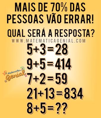 Desafio de Lógica: 8+5 = ??