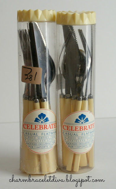 Celebrate casual flatware Pier 1 Imports knives forks spoons bakelite celluloid handles