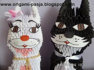 kot, kociak, kociaki, koty, papier, origami modułowe, origami 3d, czarny, biały, para kotów