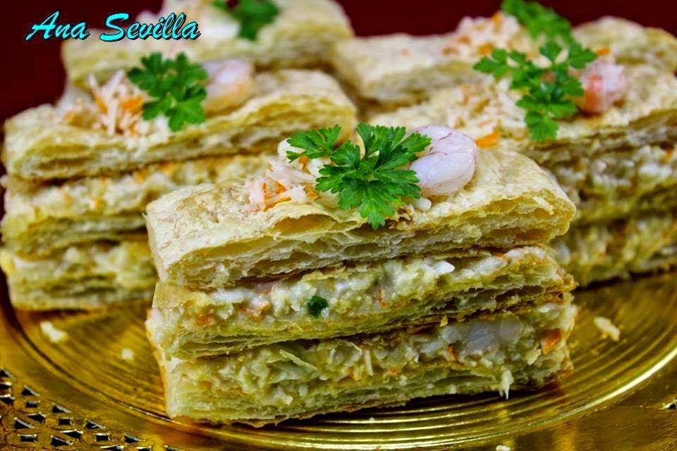 Milhojas frías de merluza y gambas Ana Sevilla cocina tradicional