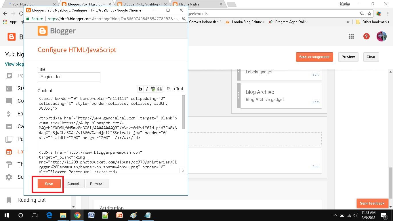 Memasang Banyak Banner dalam Satu Widget HTML layout list kode