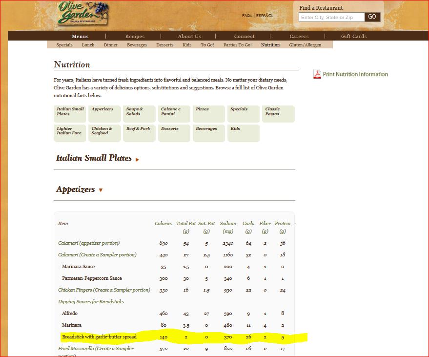 olive garden nutrition images - Olive Garden Nutrition
