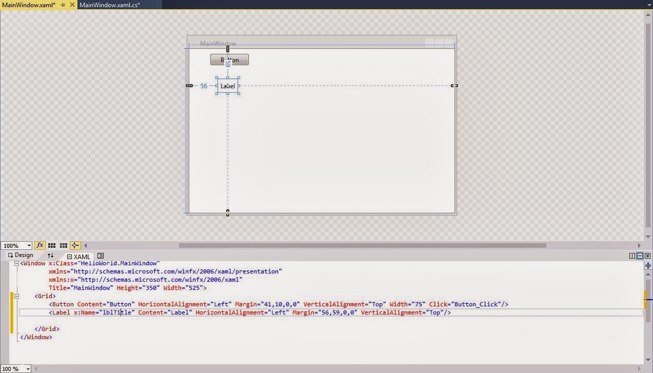 WPF Tutorial: Create a simple 'Hello World' WPF application