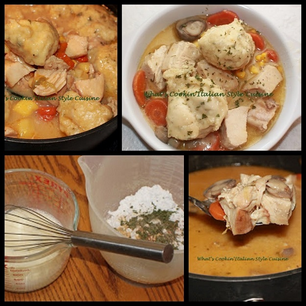 chicken and dumplings with vegetables in a white plate swimming in a delicious broth dumpling sauce with herbs and spices, corn, carrots, loaded chicken and puffed up dumplings on top in a collage