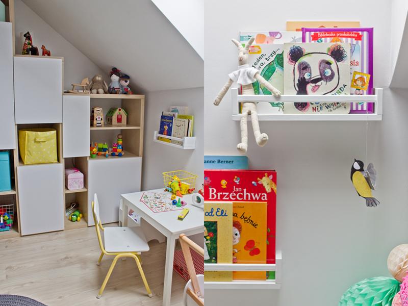 regał na zamówienie, regał do pokoju ze skosem, przechowywanie zabawek, półki na książki z półek na przyprawy, półki na przyprawy ikea, ikea, ikea hack, diy, książki dla dzieci, zabawki, malowanie krzesełka, przeróbki, diy, kat do pracy, biurko dla dziecka, królik maileg,