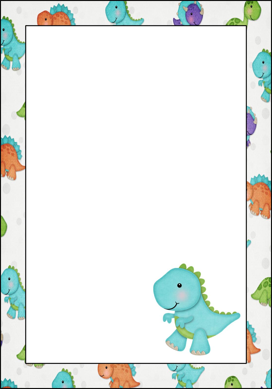 Marcos invitaciones tarjetas o etiquetas de dinosaurios - Marcos fotos bebes ...