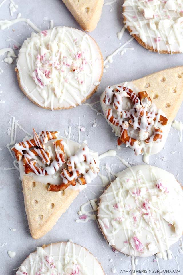 Easy Chocolate Dipped Cookies: White Chocolate, Pretzel & Crushed Candy Cane