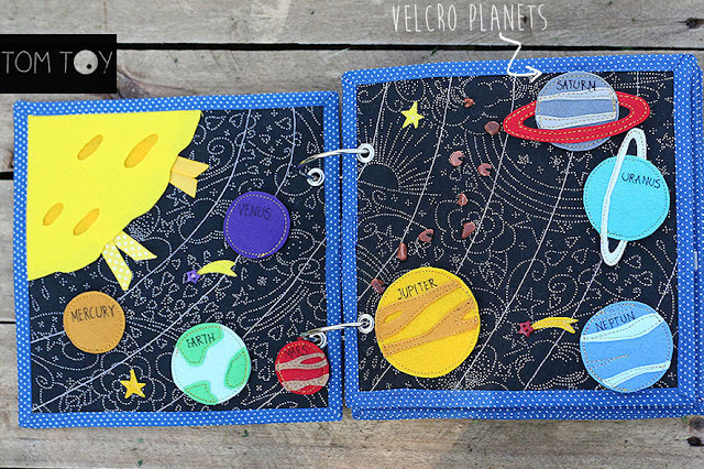 Transportation quiet busy book, space page, Развивающая книжка транспорт, космос