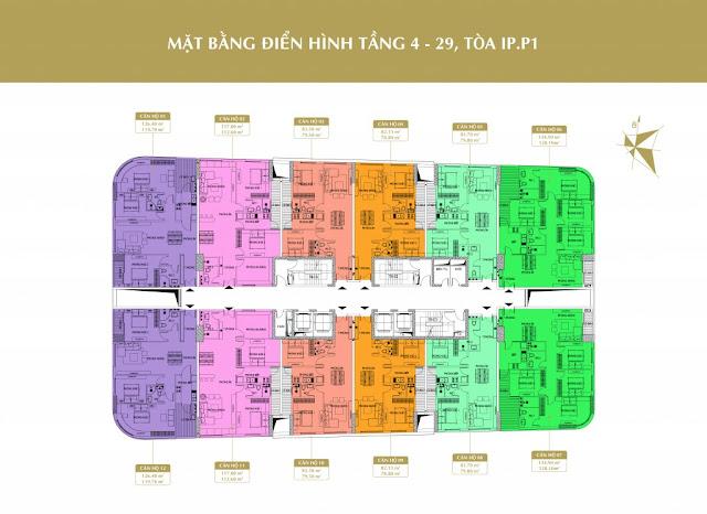 Mặt bằng tầng căn hộ điển hình tòa IP.P1 Imperial Plaza