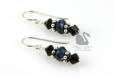 Blue Lapis Beaded Gemstone Earrings (E214)