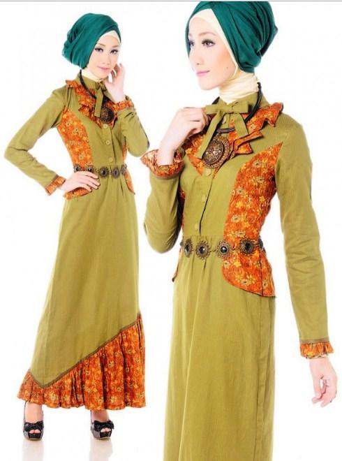 29 Model Gamis Batik Kombinasi Polos 2019 Model Baju Muslim