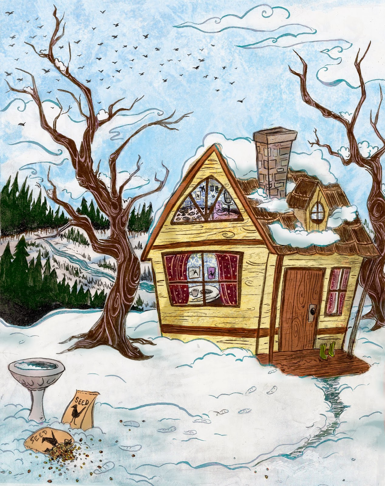 Concept art for Ava and Efron's home.RobinAnnWren.2011