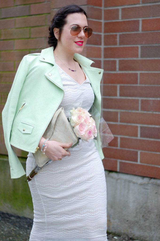 Le Château crop top and midi pencil skirt by Vancouver fashion blogger Aleesha Harris of Covet and Acquire.