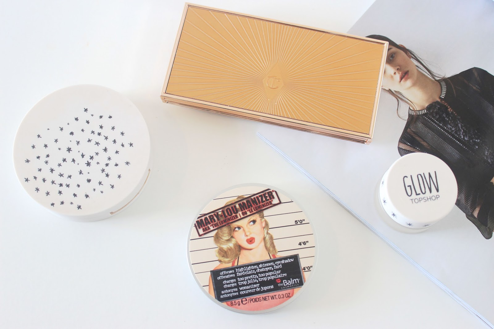 Charlotte Tilbury Bronze and Glow, Topshop Polish, Horzion, The Balm Mary Lou Manizer