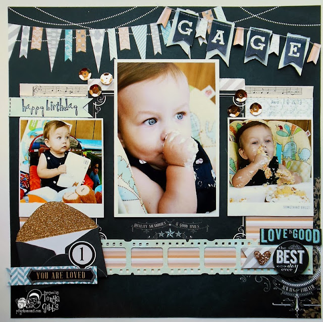Layout by Tonya A. Gibbs  using Teresa Collins Designs Memorabilia Collection.  #Layout #Scrapbooking #TeresaCollins #Memorabilia #Birthday #TonyaGibbs #Psychomomscrapbooks