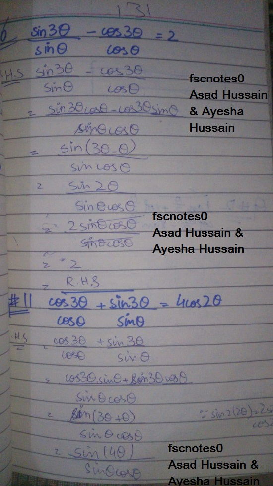 FSc ICS FA Notes Math Part 1 Chapter 10 Trigonometric Identities Exercise 10.3 Question 9 - 13 Written by Asad Hussain & Ayesha Hussain 1