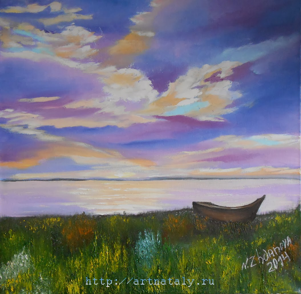 Original Modern oil Painting with a boat on the shore in romantic evening  handmade in style impressionism