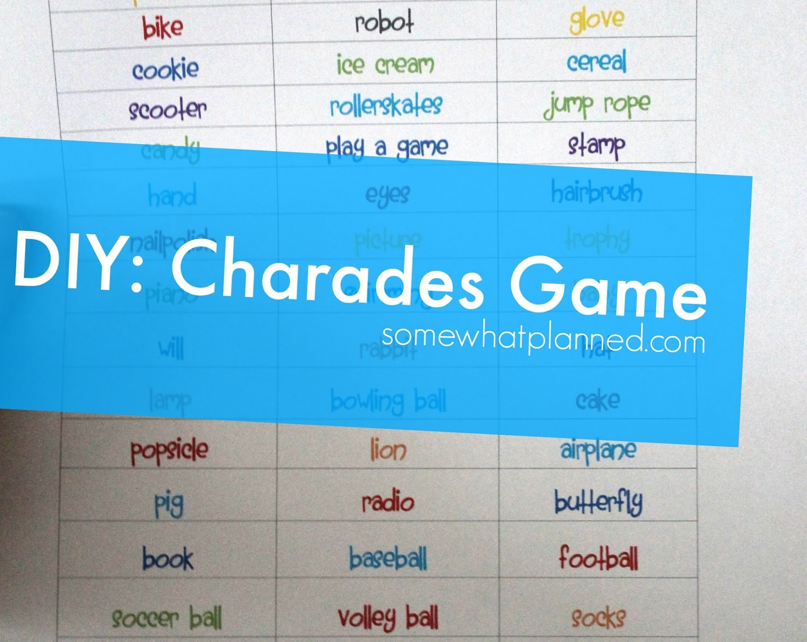 diy: charades game - somewhat planned