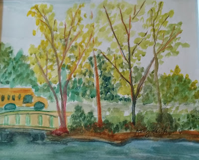 Nature Day at Griffy Park by Kathy Barton - watercolor