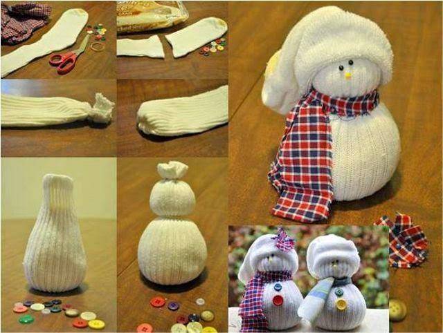 D co de no l le bonhomme de neige en chaussette - Decoration de noel bonhomme de neige ...