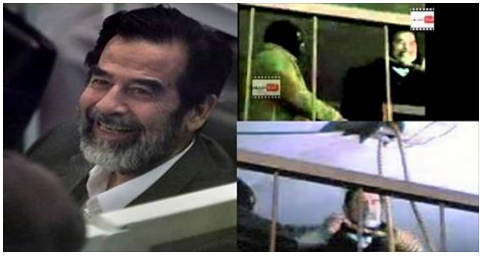 لن تصدق ! شاهد صدام حسين قبل اعدامه كان ينظر إلى شيء ما ويبتسم !