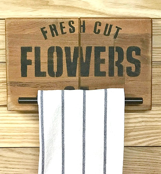 DIY Towel holders made from butcher block for a farmhouse kitchen.