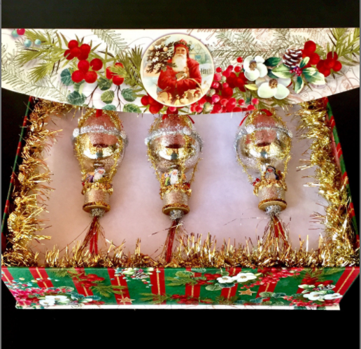 Laurie Horner Sparkle Deluxe Stunning Boxed Set Mercury Glass Christmas Ornaments Santas in Hot Air Balloons