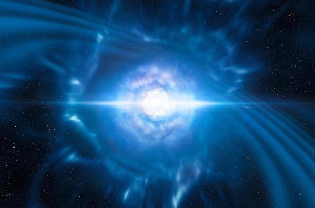 Mô phỏng hai sao neutron tuy nhỏ nhưng cực kỳ đậm đặc va chạm vào nhau, tạo thành một vụ nổ kilonova. Sự kiện này tạo ra sóng hấp dẫn và một vụ nổ tia gamma ngắn. Đồ họa: ESO/L. Calçada/M. Kornmesser.