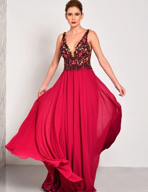 vestido de festa esvoaçante