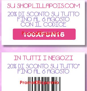 Logo Doppio coupon per il 20% di sconto da LillaPois: scaricali gratis
