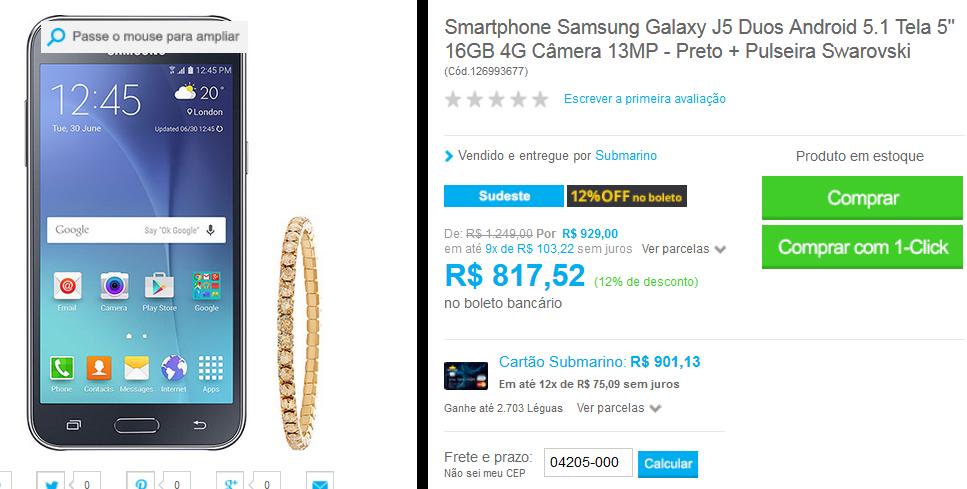 www.submarino.com.br/produto/126993677/smartphone-samsung-galaxy-j5-duos-android-5.1-tela-5-16gb-4g-camera-13mp-preto-pulseira-swarovski?opn=COMPARADORESSUB&franq=AFL-03-171644&loja=03