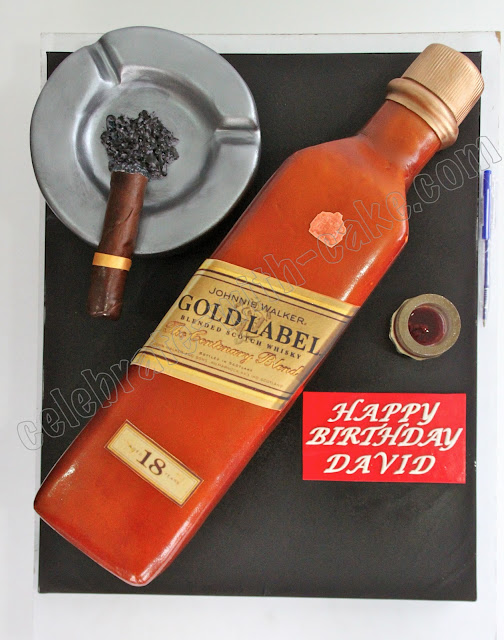 Johnnie Walker Whiskey Bottle Cigar Cake