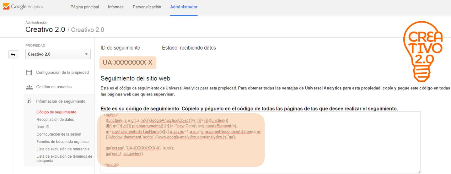 vincular Google Analytics ID y código de seguimiento