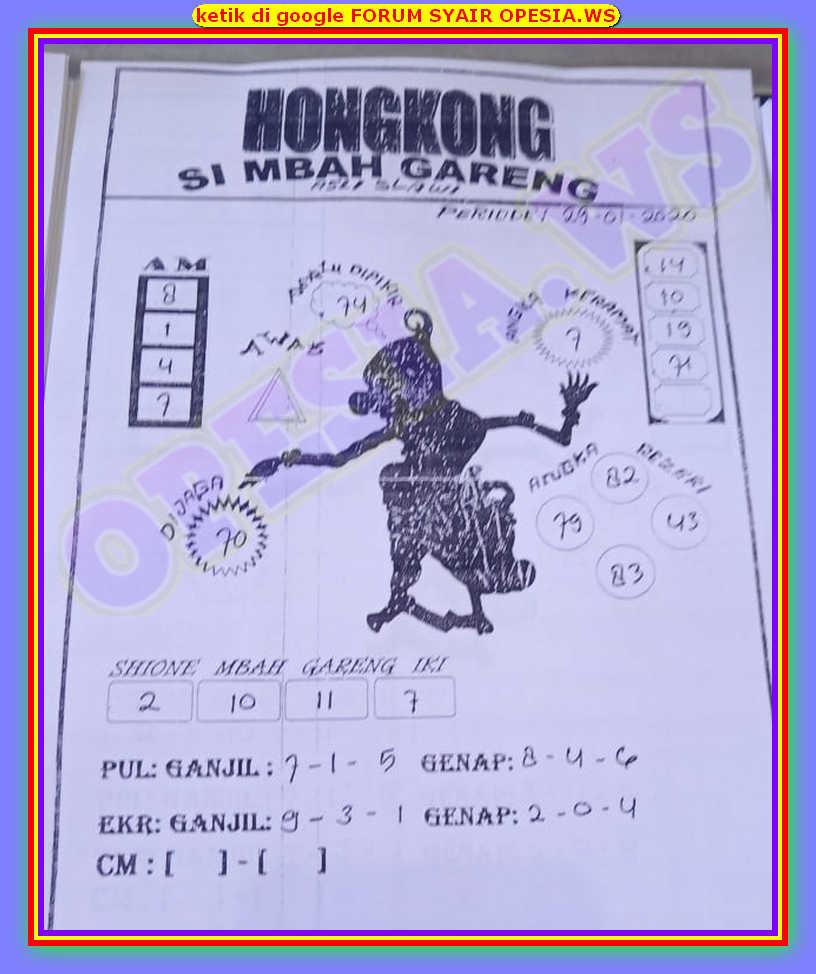 Kode syair Hongkong Rabu 29 Januari 2020 44