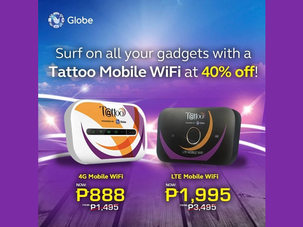 Globe tattoo 4g for php888 lte pocket wifi now for php1 for Globe tattoo internet load