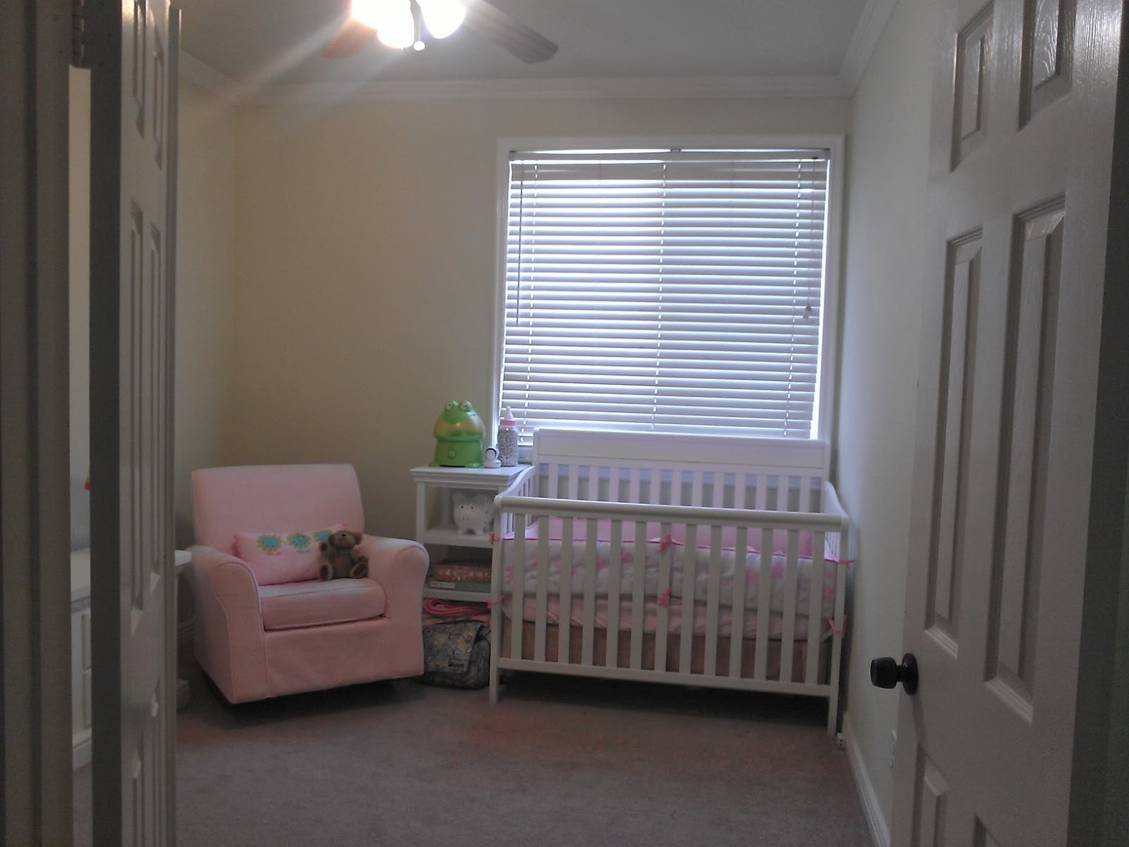 dorel rocking chair used electric wheelchair the copy cat home nursery before and after dresser has been moved to wall where pink sat was a very pale light green with empty walls sad window