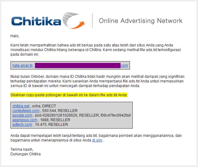 Cara Memasang Ads.txt Chitika Diblogger Blogspot