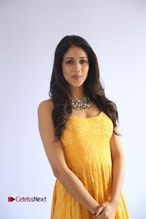 Actress Lavanya Tripathi Pictures in Yellow Dress at Srirastu Subhamastu Song Launch 0002