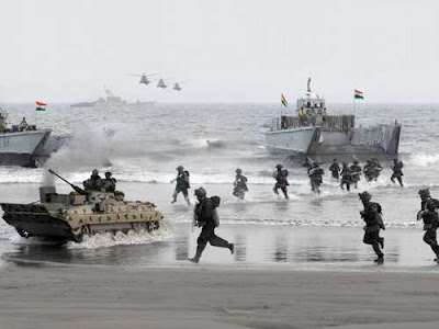 Joint Military Drill Involving Three Forces