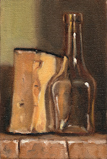 Oil painting of a small glass bottle beside a cut block of Parmesan cheese.