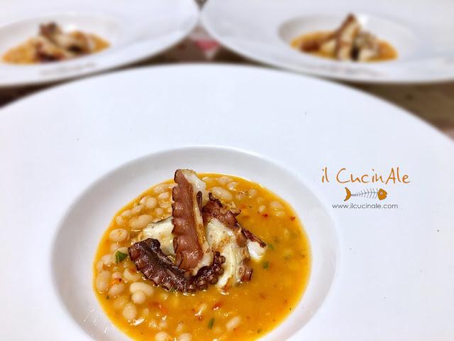 polpo arrosto su zuppetta di fagioli zolfini all'nduja calabrese