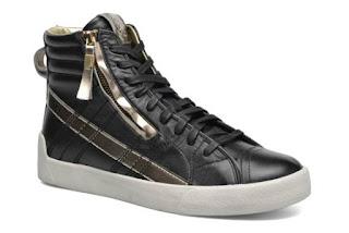 novità sneakers alte donna: da Diesel modello nero e oro