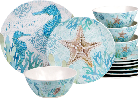 Blue Coastal Theme Melamine Outdoor Dinnerware