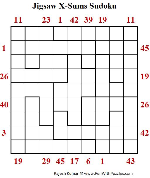 Jigsaw X-Sums Sudoku Puzzle (Daily Sudoku League 203)