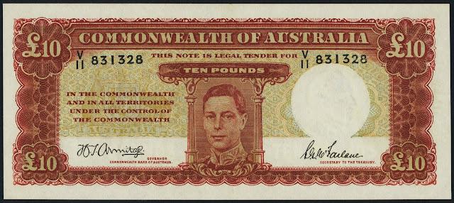 Australia 10 Pounds banknote 1942 King George VI
