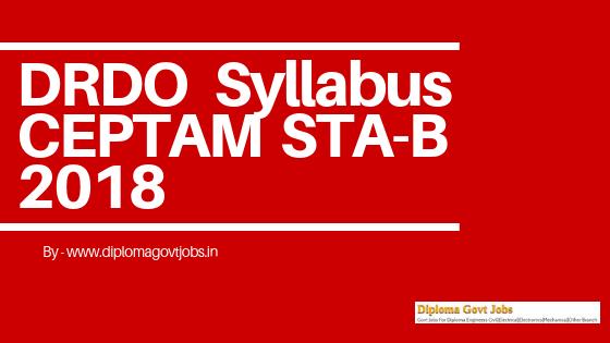 DRDO CEPTAM Syllabus STA-B 2019