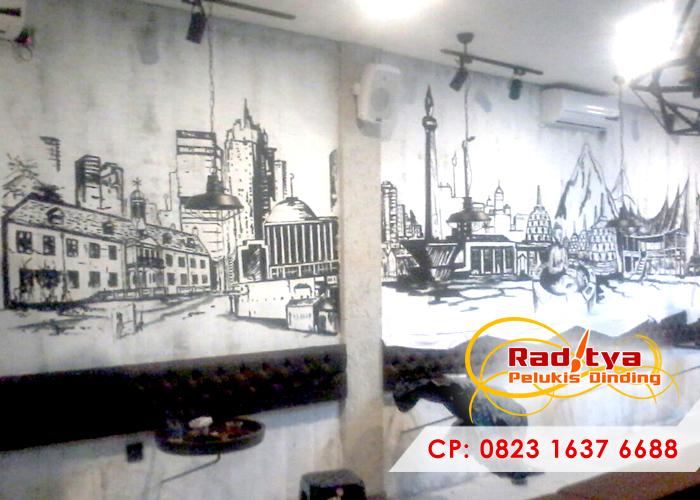 Mural hitam putih rahasia dekorasi ruangan anda tampil for Mural untuk cafe
